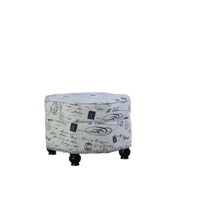 16.5 in. Stencil Letter Hexagon Storage Ottoman