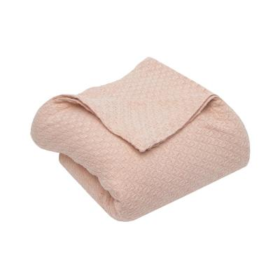 Carrie Cotton King Throw Blanket in Blush