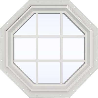 35.5 in. x 35.5 in. V-2500 Series Fixed Octagon Geometric Vinyl Window with Grids in White