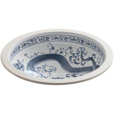Camber Vitreous China Undermount Bathroom Sink in White with Imperial Blue Design