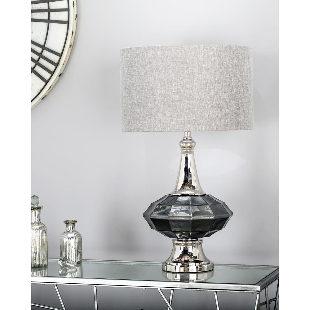 27 in. Gray Faceted Urn-Shaped Table Lamp with Silver Accents