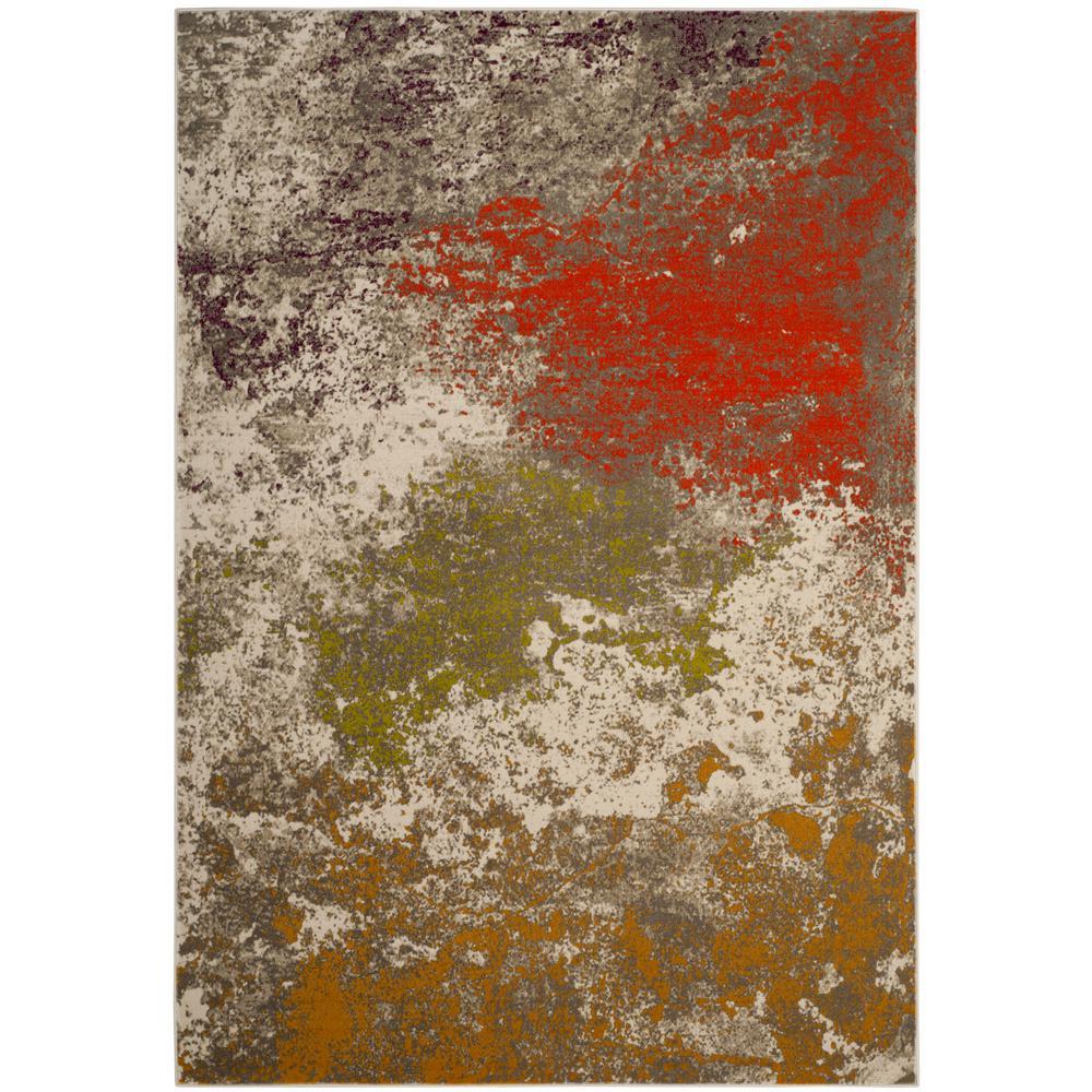 Safavieh Porcello Gray/Orange 8 ft. 2 in. x 11 ft. Area Rug