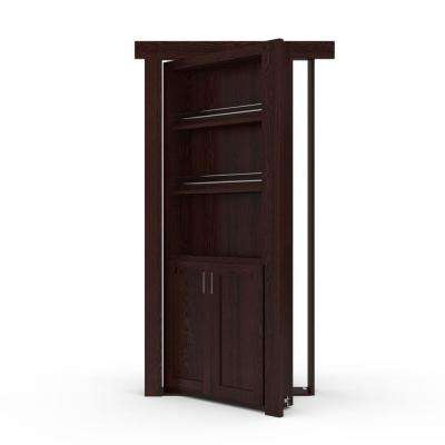 32 in. x 80 in. Flush Mount Assembled Forward Pantry Door Oak Dark Stained Left-Hand Inswing