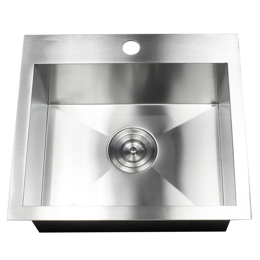 Topmount / Drop-in 19 in. x 17 in. x 9 in. Stainless Steel Prep / Bar / Island Single Bowl Zero Radius Kitchen Sink