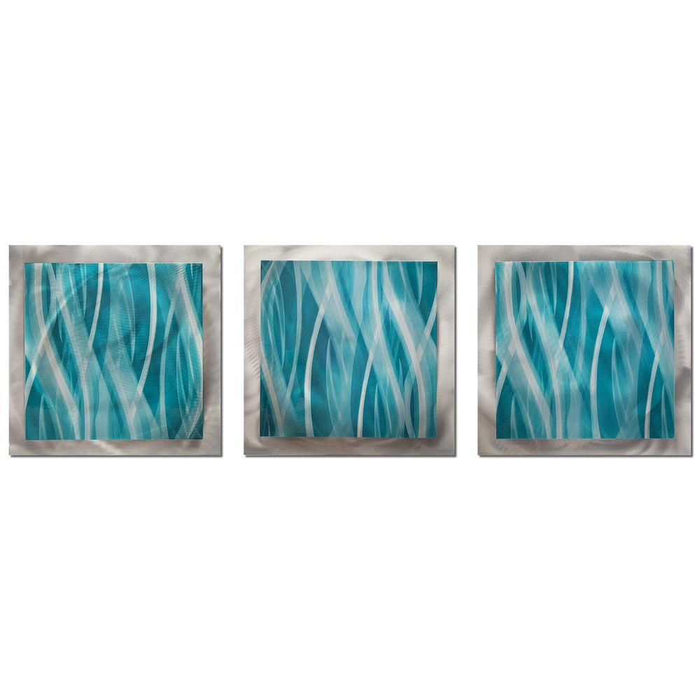 Filament Design Brevium 12 In X 38 Turquoise Essence Metal Wall Art Set Of 3 Cli Na7017087 The Home Depot