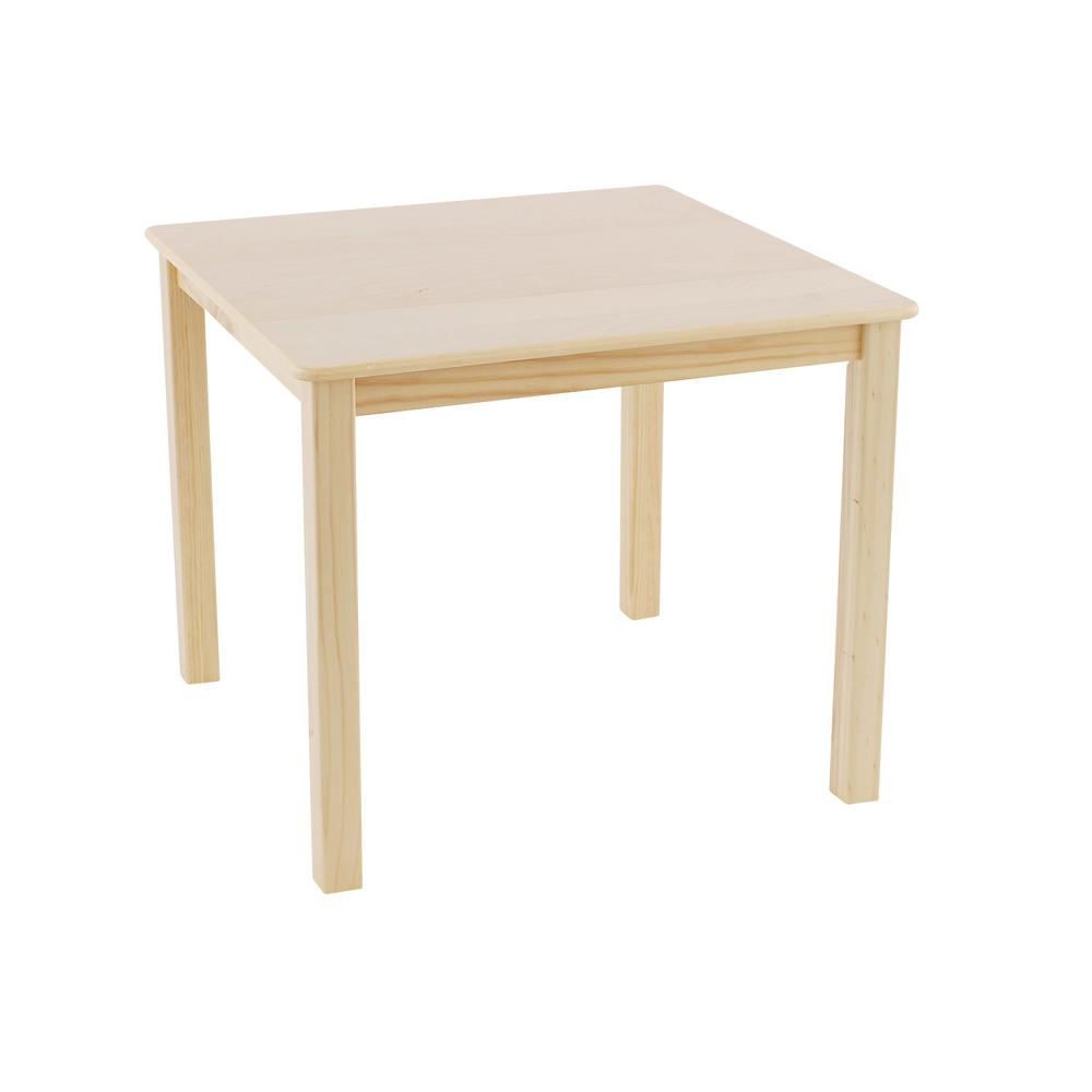 Natural Wood Square Kid And Toddler Table