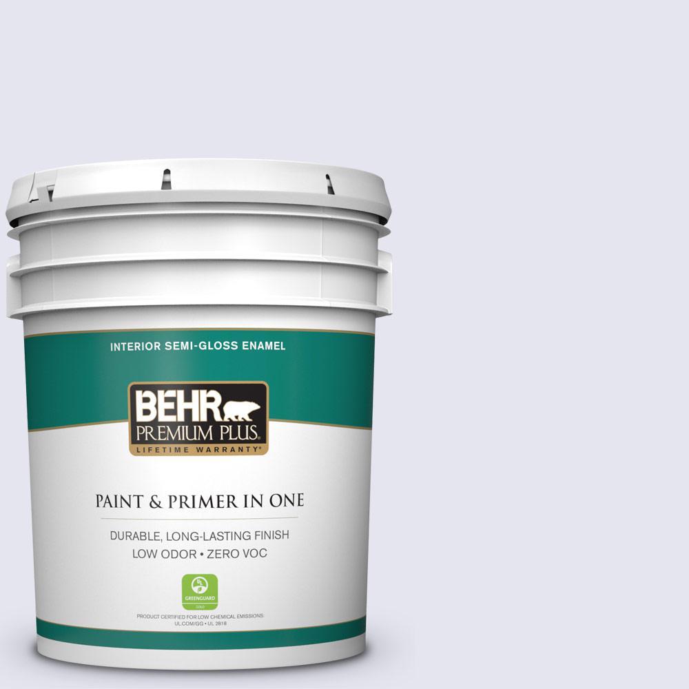 BEHR Premium Plus 5-gal. #630C-1 Lavender Haze Zero VOC Semi-Gloss Enamel Interior Paint