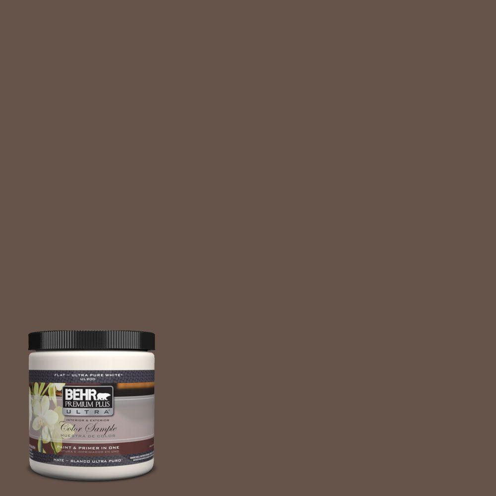 BEHR Premium Plus Ultra 8 oz. #UL140-3 Chocolate Swirl Interior/Exterior Paint Sample
