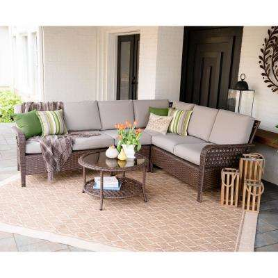 Bessemer 5-Piece Wicker Outdoor Sectional Set with Tan Cushions