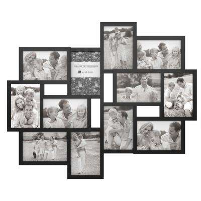 12-Opening 4 in. x 6 in. Black Picture Frame Collage