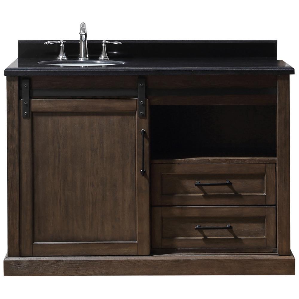 Ove Decors Laredo 48 In W X 22 In D X 34 5 In H Bath Vanity In Walnut With Granite Vanity Top In Black With White Basin
