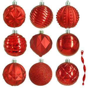 Home Accents Holiday 80 Mm Red Christmas Ornament Assortment 75 Pack He 1491 The Home Depot
