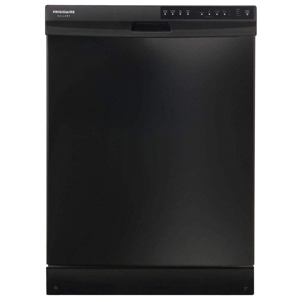 Frigidaire Gallery Built-In Front Control Dishwasher in Black with OrbitClean Spray Arm