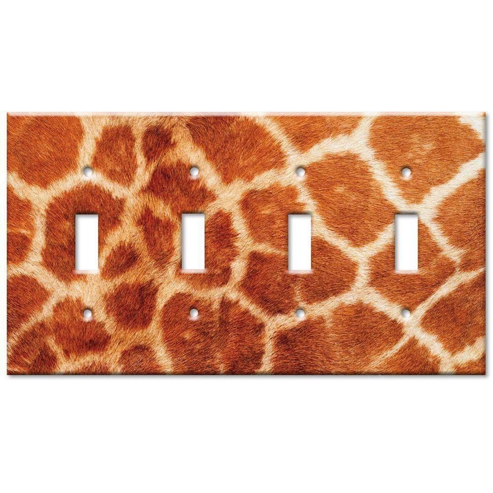 null Giraffe Fur Print Quad Toggle Wall Plate