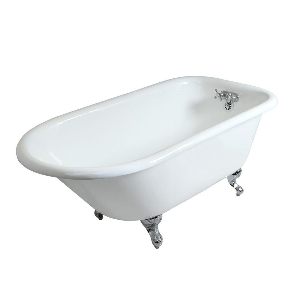 Petite 4.5 Ft. Cast Iron Chrome Claw Foot Roll Top Tub