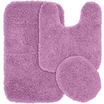 Jazz Purple 21 in. x 34 in. Washable Bathroom 3-Piece Rug Set