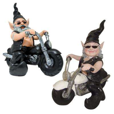 12 in. H  Biker Dude and Babe the Biker Gnomes in Leather Motorcycle Gear Riding Black and White Bikes