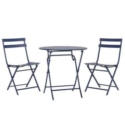 Follie Navy 3 Piece All Weather Patio Bistro Set