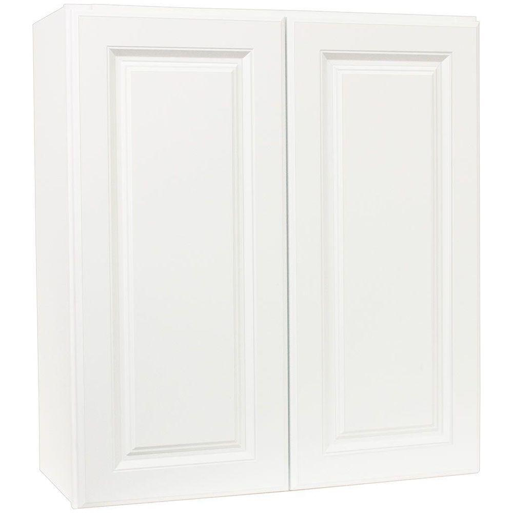 Hampton Assembled 27x30x12 in. Wall Kitchen Cabinet in Satin White