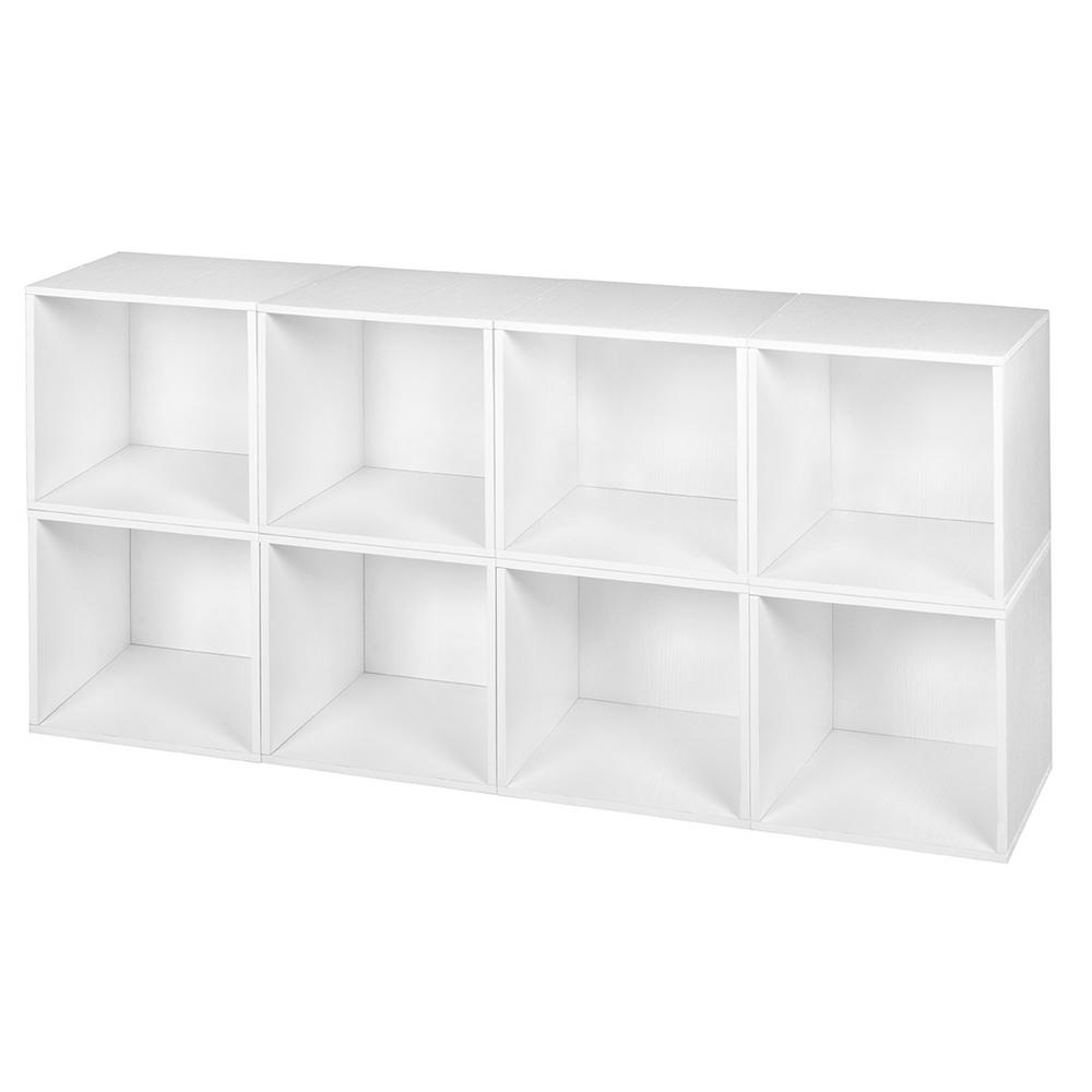 Cubo 13 in. x 13 in. White Wood Grain Modular 8-Cube Orga...