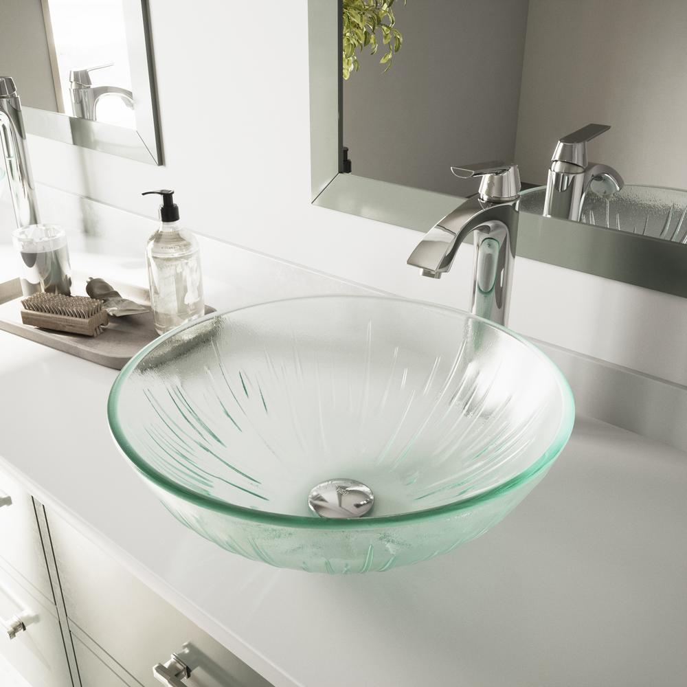 VIGO Icicles Vessel Bathroom Sink in Clear with Faucet Set in Chrome