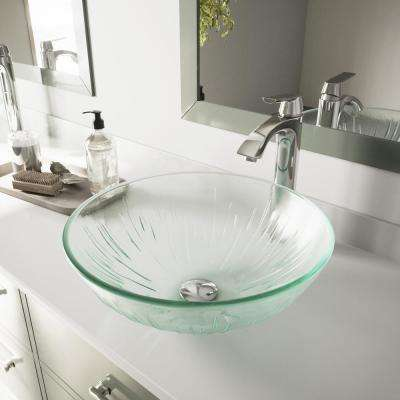 Icicles Vessel Bathroom Sink in Clear with Faucet Set in Chrome