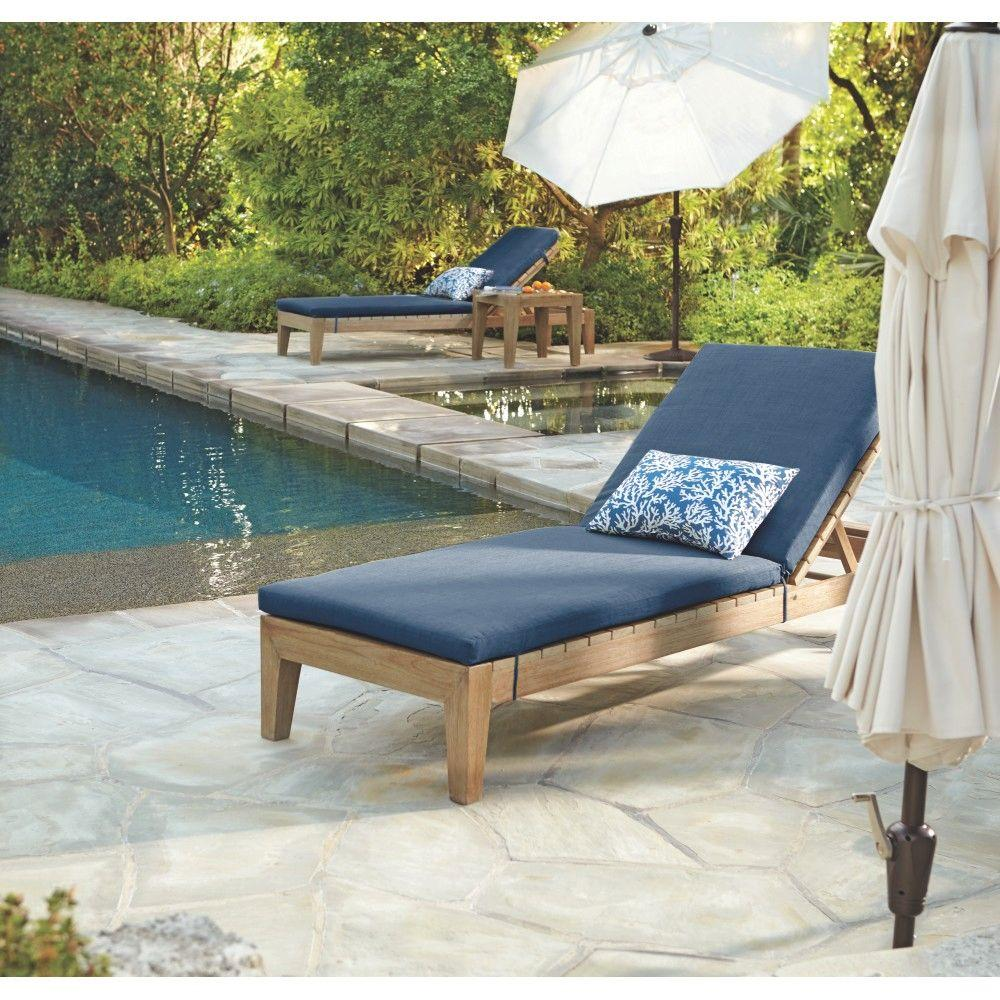 Bermuda Distressed Grey All Weather Patio Chaise with Indigo Fabric Cushions