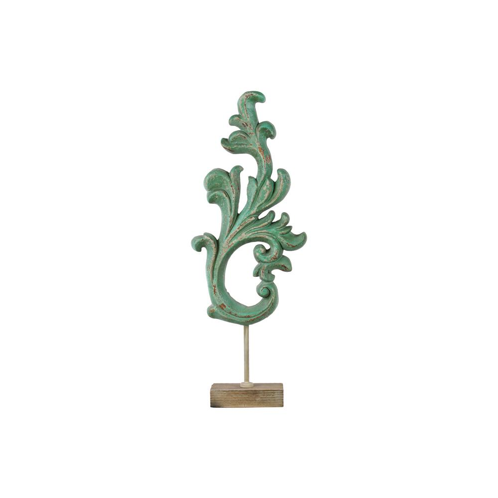 30.75 in. H Abstract Decorative Sculpture in Green Matte Distressed Leaf