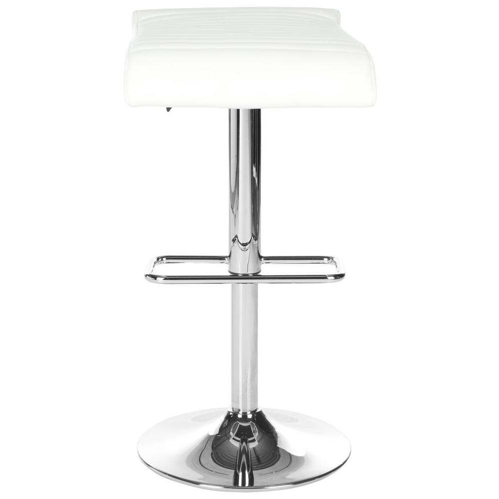 Donald Adjustable Height Chrome Swivel Cushioned Bar Stool