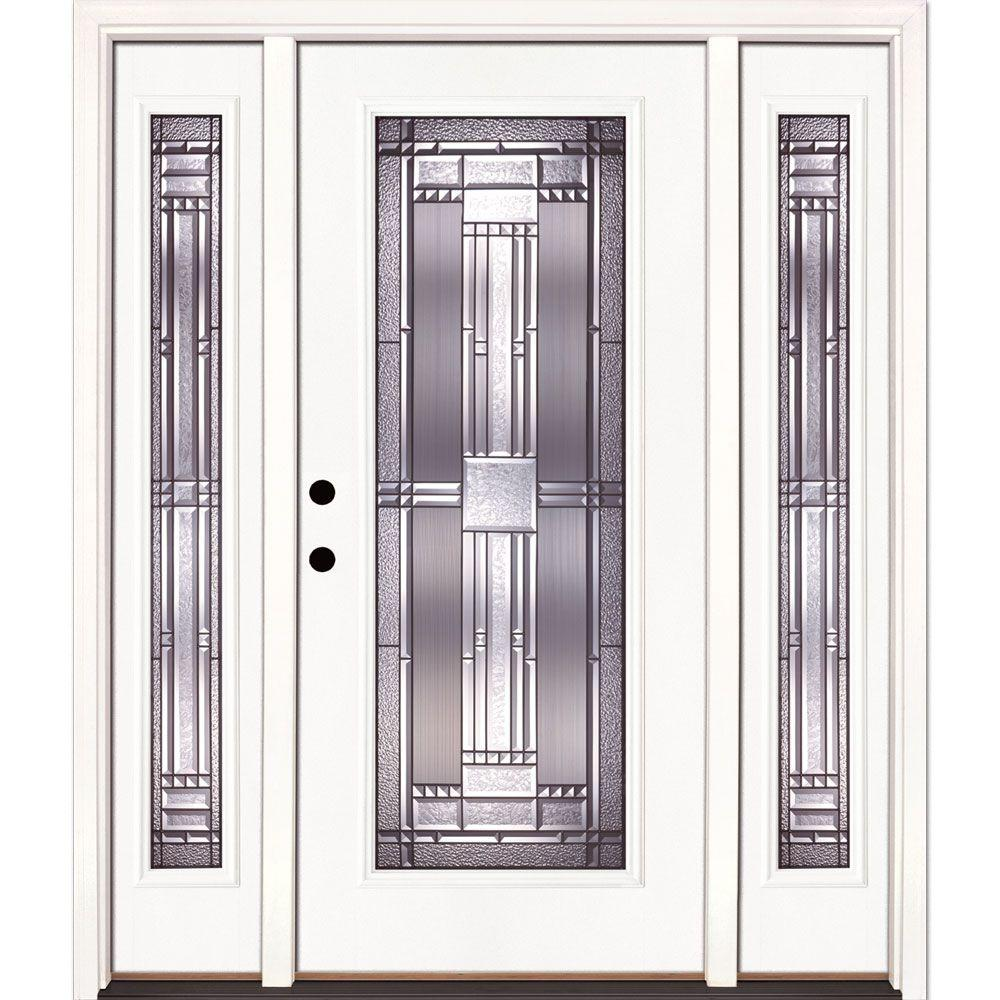 Feather river doors 63 5 in x in preston patina full lite unfinished smooth right hand - Paint or stain fiberglass exterior doors concept ...