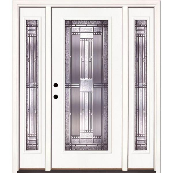 63.5 in. x 81.625 in. Preston Patina Full Lite Unfinished Smooth Right-Hand Fiberglass Prehung Front Door with Sidelites