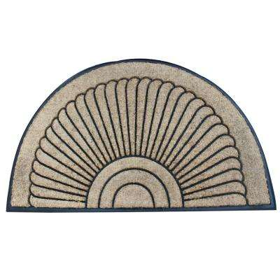 A1HC First Impression Sunburst Half Moon Tapered Edge 30 in. x 48 in. Rubber and Coir Door Mat