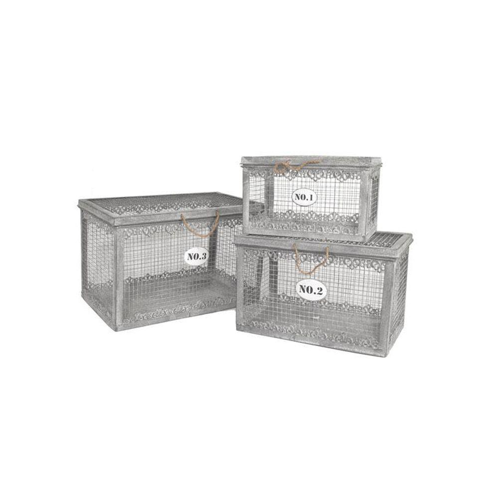 Home Decorators Collection 20 in. W Evelyn Grey Antique Trunk Set (Set of 3)