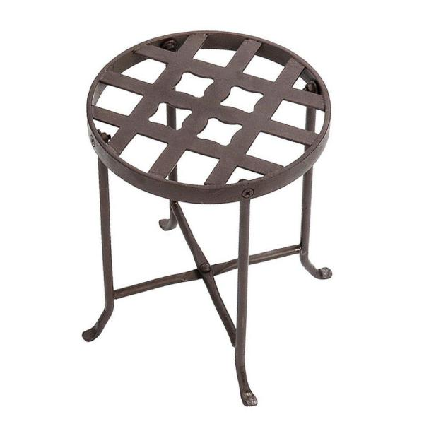 12 in. Tall Roman Bronze Powder Coat Metal Small Round Table Flowers Plant Stand
