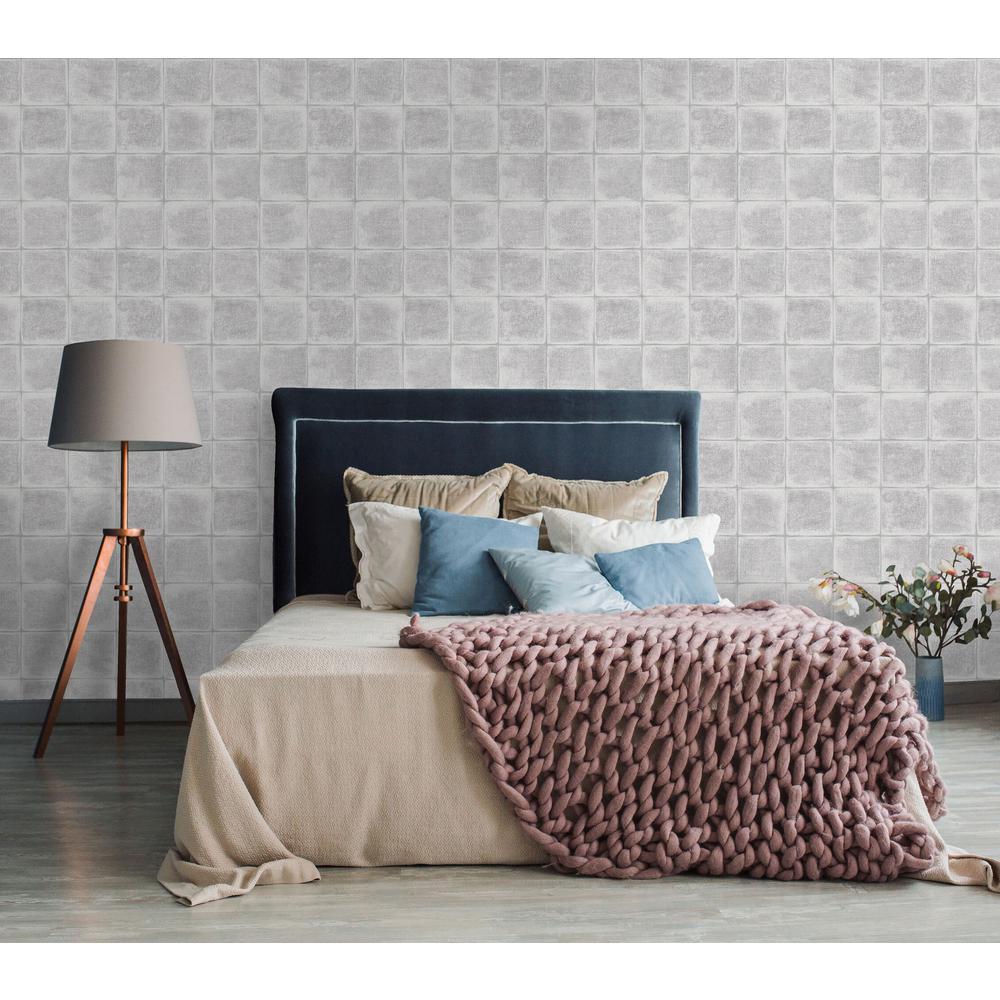Grey Textured Tile Wallpaper