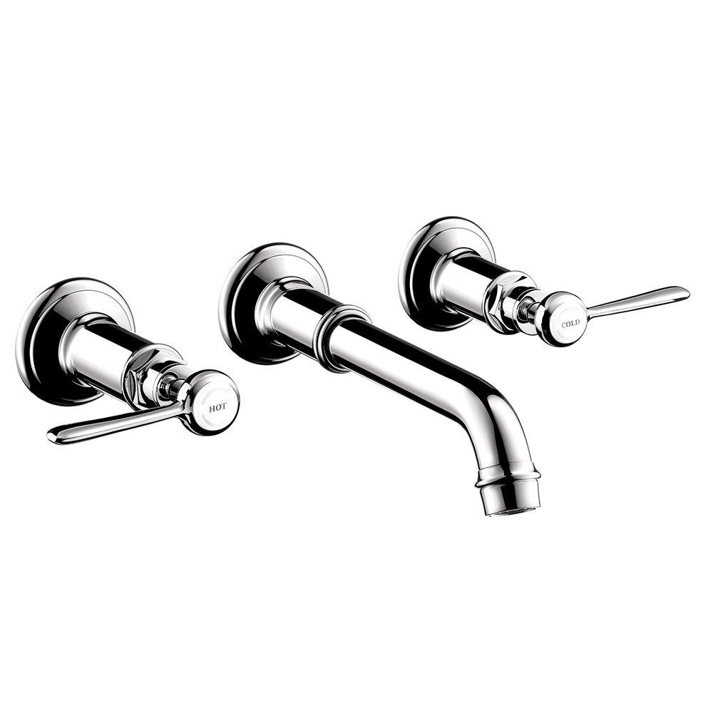 hansgrohe axor montreux 2 handle wall mount bathroom faucet in rh homedepot com