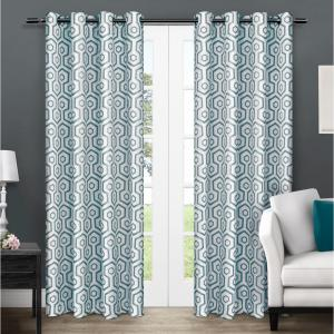 Trike Teal Geometric Thermal Grommet Top Window Curtain