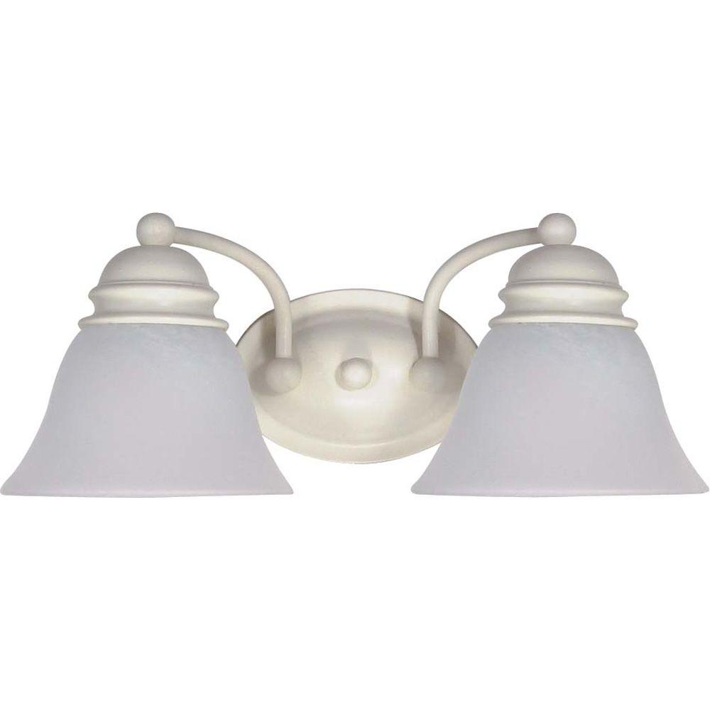 Glomar 2-Light Textured White Vanity Light with Alabaster Glass Bell Shades-HD-353 - The Home Depot
