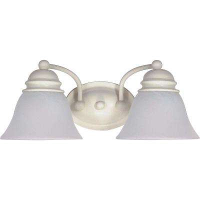 2-Light Textured White Vanity Light with Alabaster Glass Bell Shades