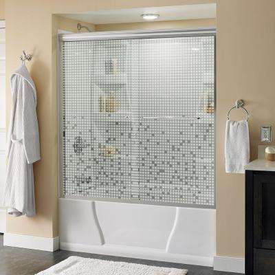 Simplicity 60 in. x 58-1/8 in. Semi-Frameless Traditional Sliding Bathtub Door in Nickel with Mozaic Glass