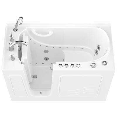 HD Series 53 in. Left Drain Quick Fill Walk-In Whirlpool and Air Bath Tub with Powered Fast Drain in White