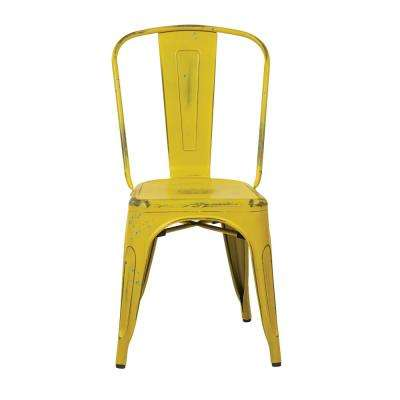 Bristow Antique Yellow Armless Metal Chair with Blue Specks (2-Pack)