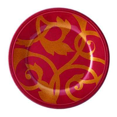 Gold Scroll 8 in. Cranberry Red Salad Plate