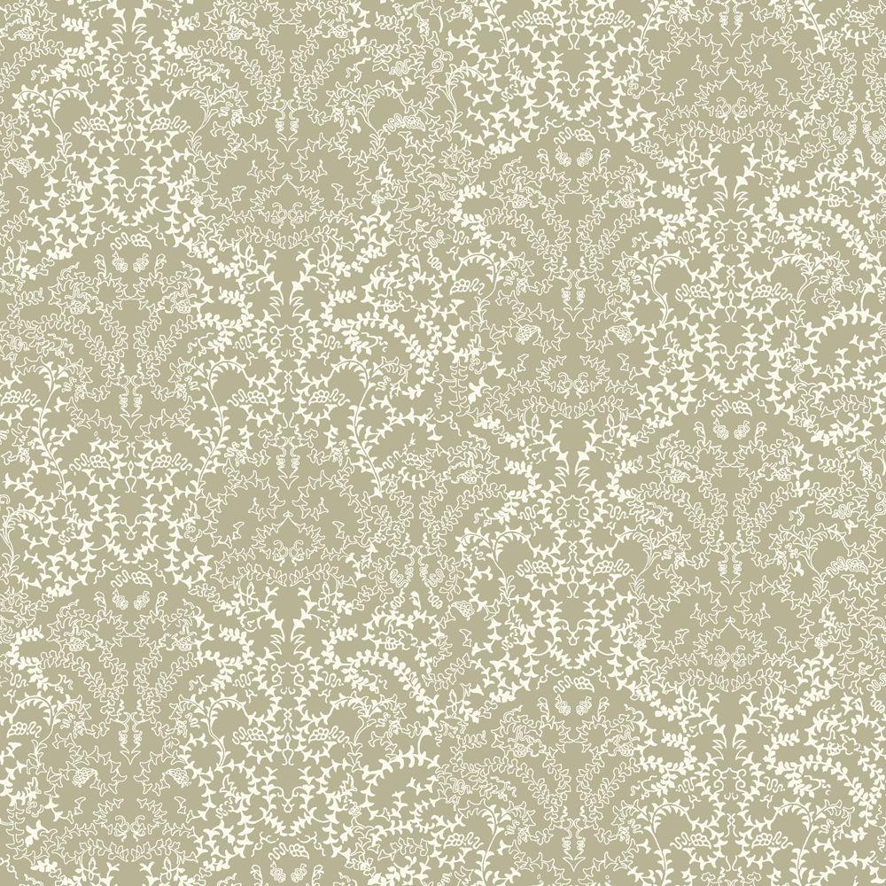 The Wallpaper Company 56 sq. ft. Metallic Pewter and White Modern Lace Damask Effect Wallpaper