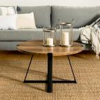 30 in. Rustic Oak and Black Rustic Urban Industrial Wood and Metal Wrap Round Coffee Table