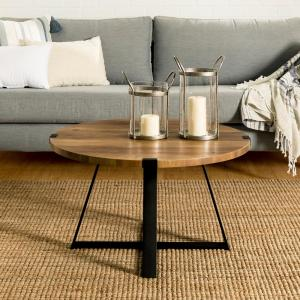 Walker Edison Furniture Company 30 in. Rustic Oak and Black ...