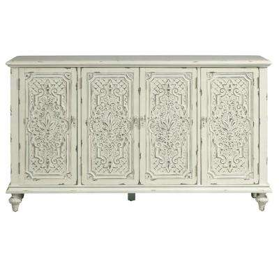 White Distressed Tin Pressed Credenza
