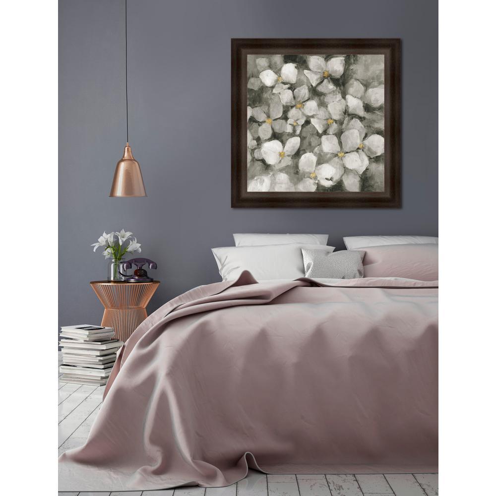 33.25 in x 33.25 in 'Midnight Neutral Hydrangea' by Marilyn Hageman Textured Paper Print Framed Wall Art