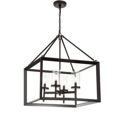 Anna 21 in. 4-Light Oil Rubbed Bronze Metal/Glass LED Pendant