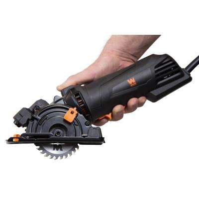 4.2 Amp 3-3/8 in.  Plunge Cut Compact Circular Saw with Laser, Carrying Case, and 3-Blades